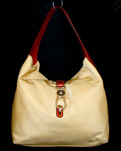 DOONEY & BOURKE Logo Lock Belvedere Hobo Shoulder Bag Yellow Nylon Brown Lthr