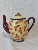 Mary Engelbreit Teapot Coin Bank Ceramic Orange Flowers 1995