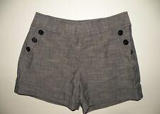 Courtenay shorts size 6 gray cotton rayon spandex short shorts buttons zipper
