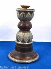 Vintage Used Heavy Wood Beautiful Brass Work Candle Stick Home Decor. i71-27