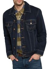 Wrangler New Mens Authentic Denim Trucker Jacket Vintage Dark Blue Black