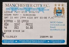 Maine ROAD screening TICKET 1999 PLAY OFF SEMIFINALE MANCHESTER CITY V Wigan