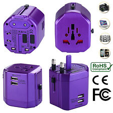 Universal World Travel Adapter With Dual USB Charger Wall AC Power -Purple
