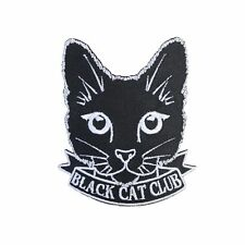 Black Cat Club Iron On Patch Cute Feline Crazy Cat Lady Gift Clothing Transfer A
