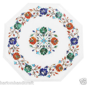 """15""""x15"""" Marble Coffee Unique Table Top Multi Inlaid Marquetry Garden Decor H1785"""