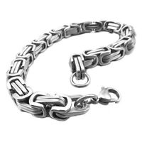 Stainless Steel Bracelet Bangle Wrist Link Silver Byzantine Punk Man 19cm H2P4