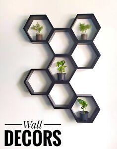 Hexagonal Honeycomb  Floating Wall Shelves Set of 8 Natural Rustic Wood  **New**