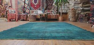 Bohemian Antique Teal Blue Overdyed Wool Pile Oushak Area Rug 6x9ft