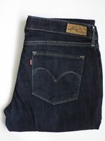 LEVI'S DEMI CURVE JEANS WOMEN'S STRETCH STRAIGHT W30 L32 DARK BLUE LEVP764