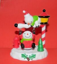 Solar Powered Swinging Toy~Two Snowmen~1 Swings On Street Lamp Post As 1 Watches