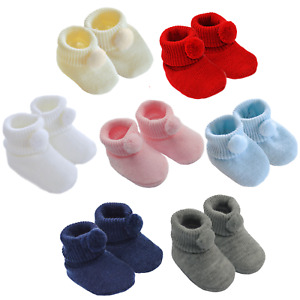 Newborn Knitted Baby Infant Pram Pom Booties, Indoor Boot Slippers Boys & Girls