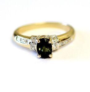 14k yellow gold .05ct womens diamond lab created dark green tourmaline ring 3.7g