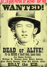 OLD WEST WANTED POSTERS DOC WYATT OUTLAW BANK ROBBER WESTERN BILLY KID