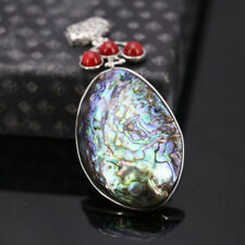 Special Design Huge Natural Abalone Shell Red Pearl Gems Silver Necklace Pendant