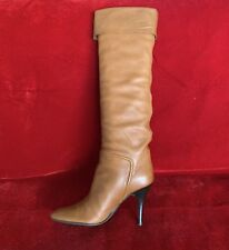Giuseppe Zanotti VICINI Brown Soft Leather Pointy Boots With Black Heel Size 40