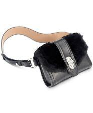 MICHAEL Michael Kors Faux Fur Belt Bag Black Leather Fanny Pack L/XL