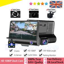 "1080P Car DVR 4"" Lens Dash Cam Front Rear Inside 3 Camera Video Recorder Monitor"