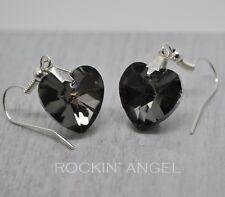 Grey Crystal Heart Drop Earrings - Lovely ladies / girls gift - in gift bag