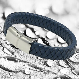 Mens Blue Genuine Flat Leather Braided Wristband Bracelet Stainless Steel Clasp