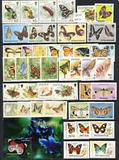 Butterflies on British Colony stamps mnh vf sets and sheets on one page