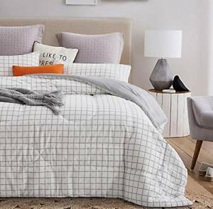 ATsense King Comforter Set All Season 3-Piece 100% Cotton Fabric Soft Microfi...