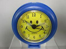 New Blue Yellow Smiley Face Quartz Travel Alarm Clock Happy Faces