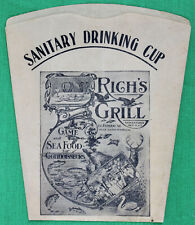 Vintage Early 1900s Paper Sanitary Drinking Cup Rich's Grill Boston Advertising