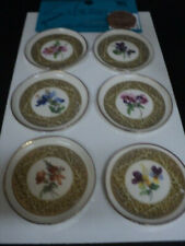 DOLLHOUSE PLATE SET-6-PC. GOLD/FLORAL