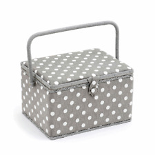 Large Sewing Accessories Storage Box Case - Grey Linen Polka Dot 23.5 x 31 x 20