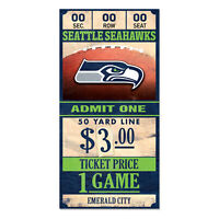 Seattle Seahawks Old Game Ticket Holzschild 30 cm NFL Football Wood Sign