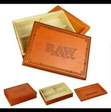 Large Raw Rolling Stash Box w Tray Stores Amazing Wood Box