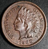 1908 INDIAN HEAD CENT -With LIBERTY & Near 4 DIAMONDS - AU UNC