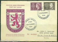 LUXEMBOURG  FIRST DAY COVER  1956 CENTENARY AS SHOWN