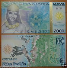 Maya 2000 Soles De Oro POLYMER Banknote 2012 UNC, End of the World