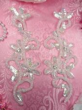"0396 Crystal Ab Sequin Ab Beaded Edge Appliques Mirror Pair 7"" Set Floral"