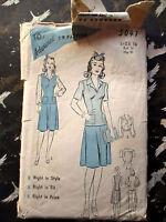 Vintage 1940s Advance 5047 Dress Pattern SIZE 16 BUST 34  HIP 37 Blouse Skirt
