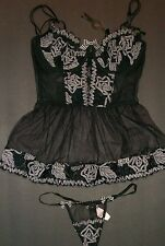 NWT $398 Victoria Secret Designer Collection Corset Babydoll Set 34D S