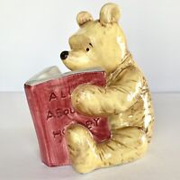 VTG Disney Charpente Winnie the Pooh Reading Book Ceramic Coin Piggy Bank FLAW