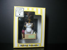 Comic & Curious grey cat dressed as Angel Christmas ornament Linda Jane Smith