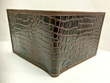 Handmade Bifold Croc Pattern Leather Wallet Made In Mexico