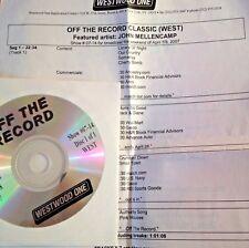 RADIO SHOW: OFF THE RECORD CLASSIC 4/7/07 JOHN MELLENCAMP 10 TUNES/INTERVIEWS