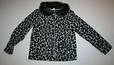 New Gymboree Leopard Print Fur Collar Zip Up Fleece Cardigan Jacket  XS 4 Year