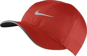 NIKE Dri-FIT MENS Featherlight Reflective Running Cap Hat - Red - AR1998-622
