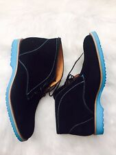 J.D. FISK Viego Black Suede Boot with Blue Sole Ankle Boots Sz 9