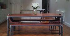 More details for reclaimed hardwood & metal industrial table - oak teak iroko