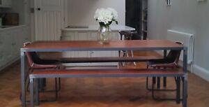 Reclaimed Hardwood & Metal Industrial Table - Oak Teak Iroko