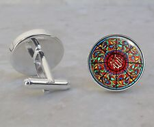 Mosque Brunei Islam Stained Glass Image 925 Sterling Silver Cuff Links