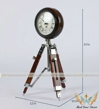 Vintage Look Wooden Roman Number Clock W/Wood Tripod Stand Nautical Home Decor