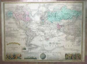 PLANISPHERE EUROPEAN COLONIES 1861 VUILLEMIN VERY LARGE ANTIQUE DECORATIVE MAP