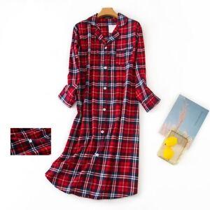US Women's Flannel Cotton Long Sleeve Nightgown Nightwear Sleepwear/Sleep Dress
